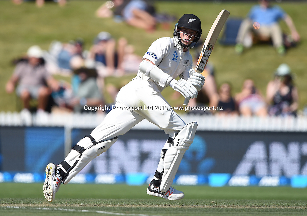 Mitchell Santner batting on day 2 of the 2nd cricket test match between New Zealand Black Caps and Sri Lanka at Seddon Park in Hamilton, New Zealand. Saturday 19 December 2015. Copyright photo: Andrew Cornaga / www.photosport.nz