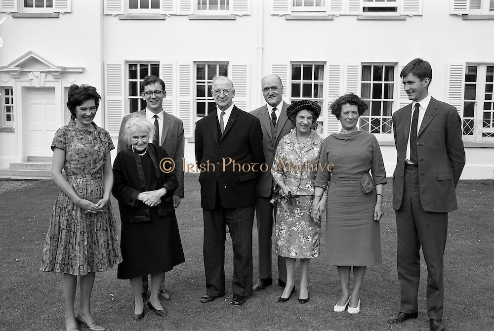 22/08/1963<br /> 08/22/1963<br /> 22 August 1963<br /> Mr Frank Aiken and family with President de Valera at Áras an Uachtaráin.