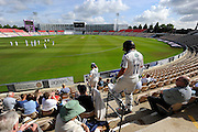 Jack Brooks of Yorkshire and Ryan Sidebottom of Yorkshire walk down the pavilion steps for the second days play of the Specsavers County Champ Div 1 match between Hampshire County Cricket Club and Yorkshire County Cricket Club at the Ageas Bowl, Southampton, United Kingdom on 1 September 2016. Photo by Graham Hunt.