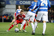Middlesbrough FC striker Jordan Rhodes (9) defending from the front during the Sky Bet Championship match between Queens Park Rangers and Middlesbrough at the Loftus Road Stadium, London, England on 1 April 2016. Photo by Andy Walter.