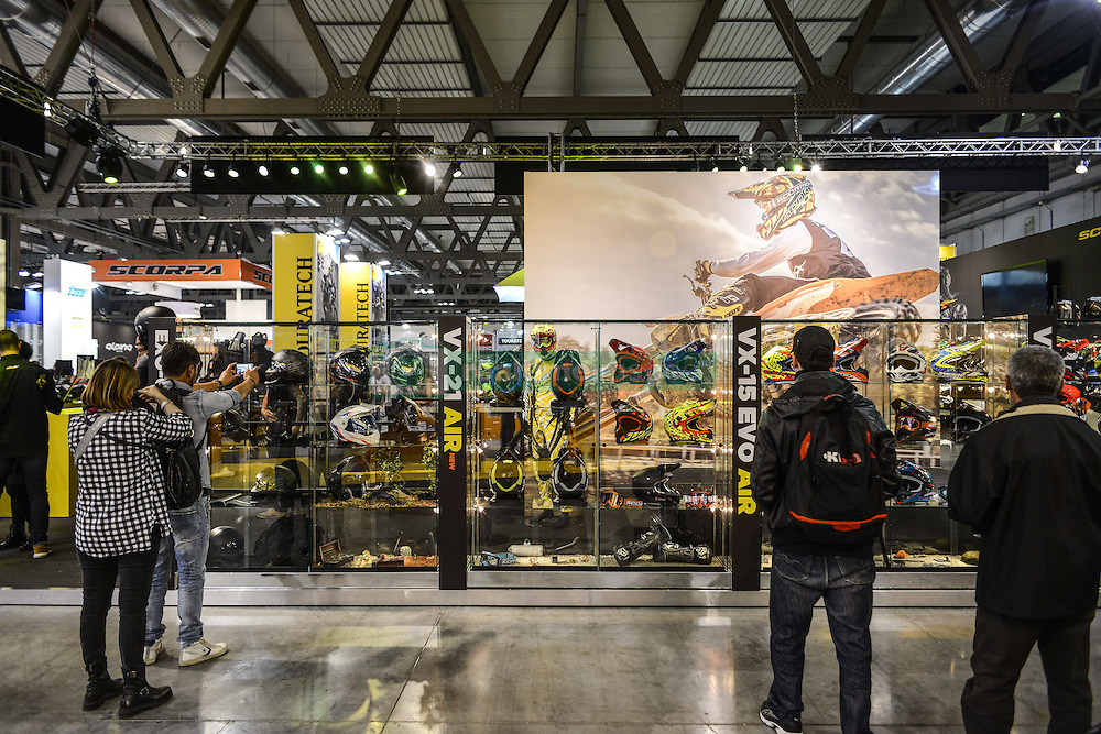 November 12, 2016 - Milan, Italia, Italy - EICMA 2016 - International Fair for Bicycle and Motorcycle, held in Milan, Italy on 8 to 13 November 2016. In picture is seen  motor exhibition. (Credit Image: © Roberto Silvino/NurPhoto via ZUMA Press)