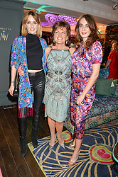 Left to right, LADY ALICE MANNERS,  her mother the DUCHESS OF RUTLAND and LADY VIOLET MANNERS at the Duresta For Matthew Williamson Exclusive Launch At Harrods, Knightsbridge, London on 10th March 2016.