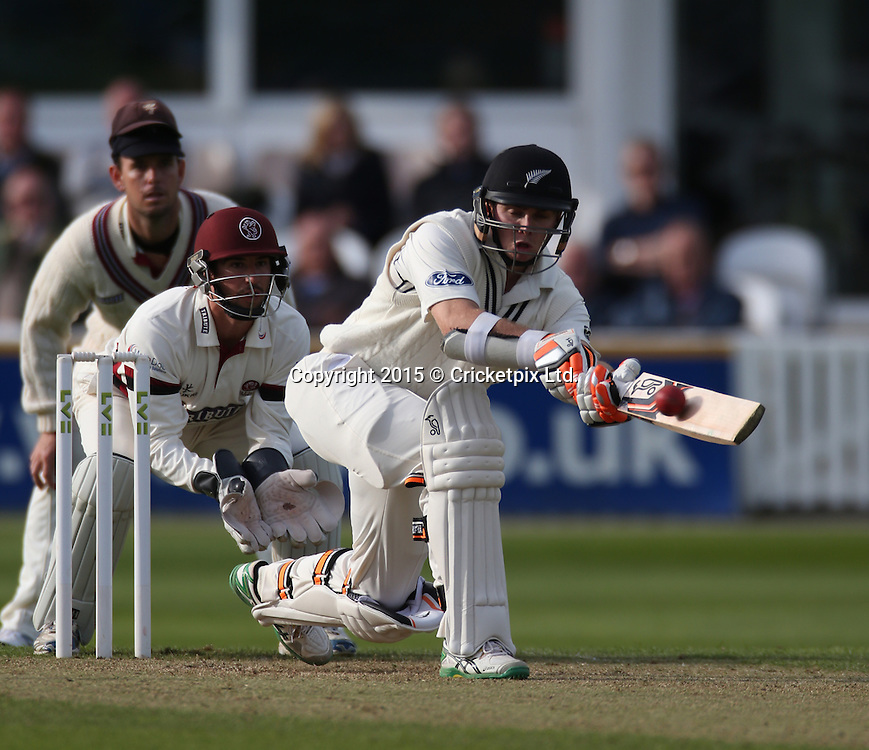 Tom Latham off the bowling of Abdur Rehman during the four day game between Somerset and a New Zealand XI at the County Ground, Taunton. Photo: Graham Morris/www.cricketpix.com (Tel: +44 (0)20 8969 4192; Email: graham@cricketpix.com) 09052015
