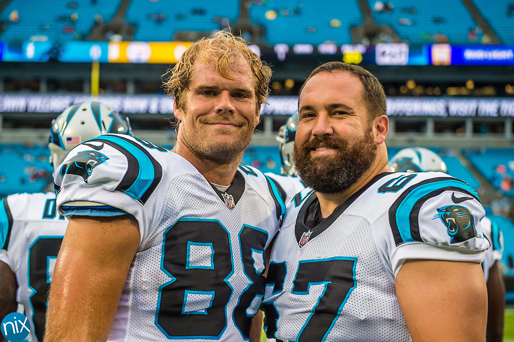 Carolina Panthers Greg Olsen and Ryan Kalil prior to a game against the Pittsburgh Steelers during their fourth preseason game at Bank of American Stadium on Thursday, August 31, 2017 in Charlotte, NC.