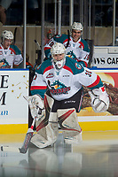 KELOWNA, CANADA - SEPTEMBER 29: Brodan Salmond #31 of the Kelowna Rockets enters the ice for warm up against the Everett Silvertips on September 29, 2017 at Prospera Place in Kelowna, British Columbia, Canada.  (Photo by Marissa Baecker/Shoot the Breeze)  *** Local Caption ***