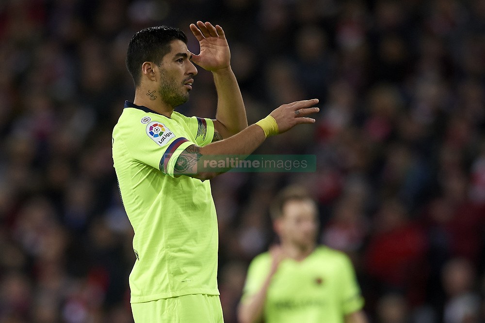 February 10, 2019 - Bilbao, Vizcaya, Spain - Luis Suarez of Barcelona lament a failed occasion during the week 23 of La Liga between Athletic Club and FC Barcelona at San Mames stadium on February 10 2019 in Bilbao, Spain. (Credit Image: © Jose Breton/NurPhoto via ZUMA Press)