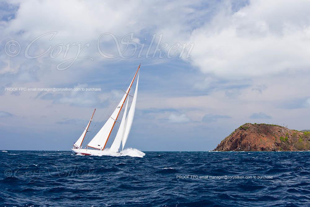 Mariella sailing in the 2010 Antigua Classic Yacht Regatta, Windward Race, day 4.