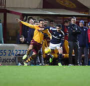 23rd December 2017, Fir Park, Motherwell, Dundee; Scottish Premier League football, Motherwell versus Dundee; Dundee's Faissal El Bakhtaoui takes on Motherwell's Charles Dunne
