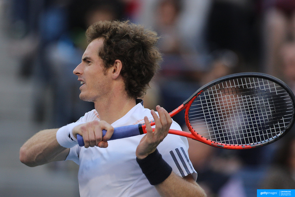 Andy Murray, Great Britain, in action against Novak Djokovic, Serbia, in the Men's Singles Final during the US Open Tennis Tournament, Flushing, New York. USA. 10th September 2012. Photo Tim Clayton