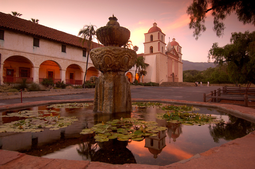 Fountain, Old Santa Barbara Mission, Santa Barbara, California, United States of America