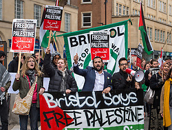 © Licensed to London News Pictures. 07/04/2018. Bristol, UK. Protest in Bristol city centre in support of Gaza, to call for an end to the siege of Gaza and demand the UK government to condemn the Israeli state's actions. Similar protests are scheduled in London (outside Downing Street), Manchester and other places today, following recent clashes between Palestinian protestors in Gaza and Israeli security forces guarding the border fence. On 30 March 2018, Land Day, Palestinian protesters seeking to return to ancestral land in what is now Israel were fired at with live bullets by Israeli snipers that killed 15 people and injured over 1,400, with 20 in a critical condition. In further protests on Friday 6 March, 9 Palestinians have been killed and 780 wounded. The Bristol event was organised by the Bristol Palestine Solidarity Campaign and Bristol Stop the War Coalition. Photo credit: Simon Chapman/LNP