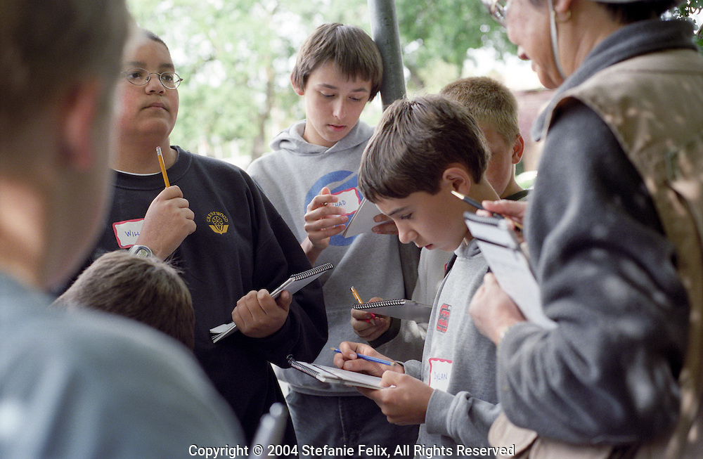 Middle School students write in journals while on a field trip to City Creeks, Walnut Creek, CA.