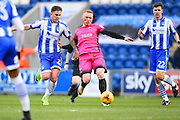 Hartlepool player Micheal Woods passes the ball in the box in the first half during the EFL Sky Bet League 2 match between Colchester United and Hartlepool United at the Weston Homes Community Stadium, Colchester, England on 25 February 2017. Photo by Ian  Muir.