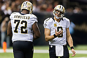 NEW ORLEANS, LA - SEPTEMBER 20:  Drew Brees #9 of the New Orleans Saints reacts after a bad pass against the Tampa Bay Buccaneers at Mercedes-Benz Superdome on September 20, 2015 in New Orleans Louisiana.  The Buccaneers defeated the Saints 26-19.  (Photo by Wesley Hitt/Getty Images) *** Local Caption *** Drew Brees