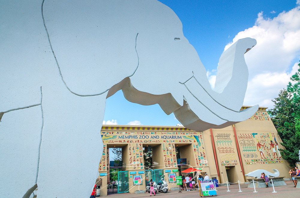 A concrete elephant decorates the entrance to the Memphis Zoo, September 8, 2015, in Memphis, Tennessee. The zoo features more than 3,500 animals representing more than 500 species; it is one of only four zoos in the nation to feature a panda exhibit. (Photo by Carmen K. Sisson/Cloudybright)