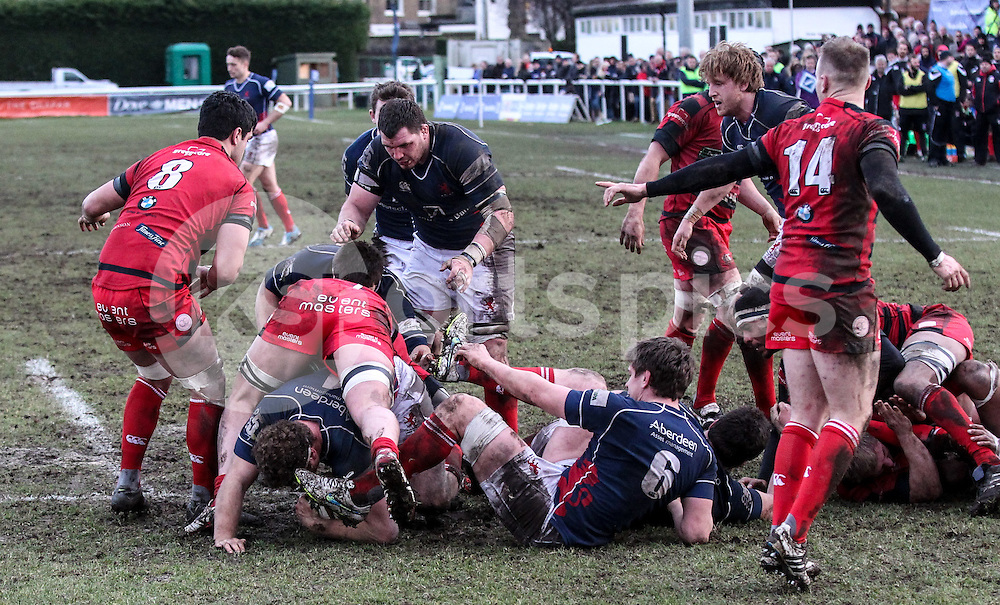 James Hallam in action during the Green King IPA Championship match between London Scottish &amp; Moseley at Richmond, Greater London on 21st February 2015<br /> <br /> Photo: Ken Sparks | UK Sports Pics Ltd<br /> London Scottish v Moseley, Green King IPA Championship, 21st February 2015<br /> <br /> &copy; UK Sports Pics Ltd. FA Accredited. Football League Licence No:  FL14/15/P5700.Football Conference Licence No: PCONF 051/14 Tel +44(0)7968 045353. email ken@uksportspics.co.uk, 7 Leslie Park Road, East Croydon, Surrey CR0 6TN. Credit UK Sports Pics Ltd