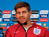 Steven Gerrard of England looks on during the England press conference at Arena da Amazonia, Manaus, Brazil.<br /> Picture by Andrew Tobin/Focus Images Ltd +44 7710 761829<br /> 13/06/2014