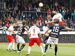 15.10.2016, Lavanttal Arena, Wolfsberg, AUT, 1. FBL, RZ Pellets WAC vs FC Red Bull Salzburg, 11. Runde, im Bild v.l. Peter Tschernegg (RZ Pellets WAC), Munas Dabbur (FC Red Bull Salzburg), Mihret Topcagic (RZ Pellets WAC) und Valentino Lazaro (FC Red Bull Salzburg) // during the Austrian Football Bundesliga 11th Round match between RZ Pellets WAC and FC Red Bull Salzburg at the Lavanttal Arena in Wolfsberg Austria on 2016/10/15, EXPA Pictures © 2016, PhotoCredit: EXPA/ Wolfgang Jannach