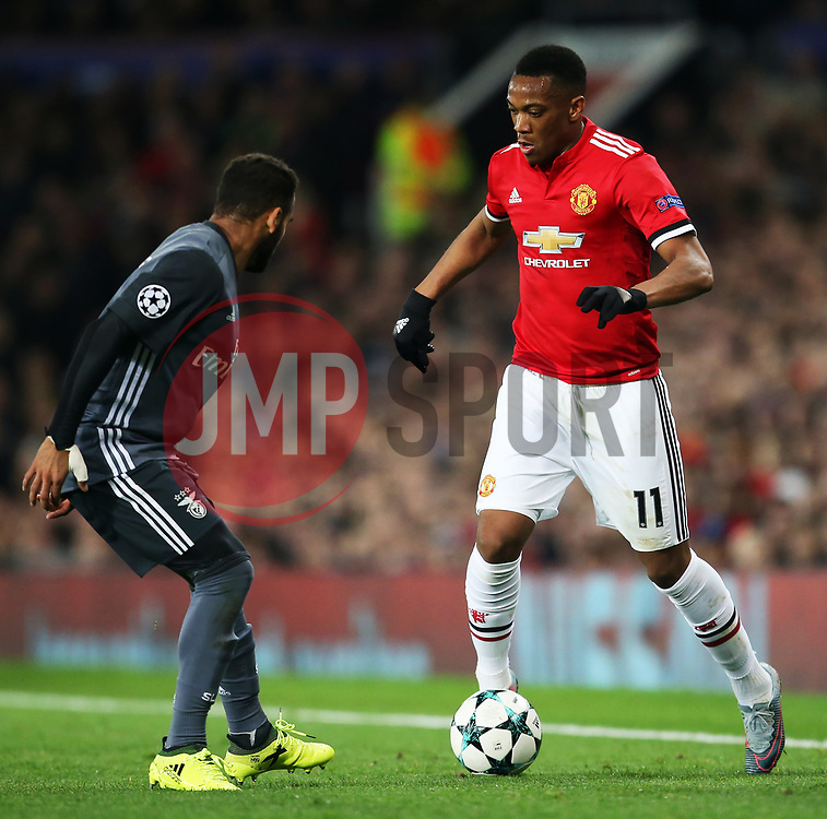 Anthony Martial of Manchester United takes on Douglas of Benfica - Mandatory by-line: Matt McNulty/JMP - 31/10/2017 - FOOTBALL - Old Trafford - Manchester, England - Manchester United v Benfica - UEFA Champions League Group A