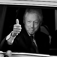 Former President Bill Clinton gives a thumbs up as he departs after a visit to the polls at Holy Name Elementary School in West Roxbury on Super Tuesday, Tuesday, March 1, 2016. Clinton faced accusations of electioneering  to garner support for his wife's campaign after visiting a few Massachusetts polling places, where he said he was merely thanking poll workers. Staff photo by Angela Rowlings