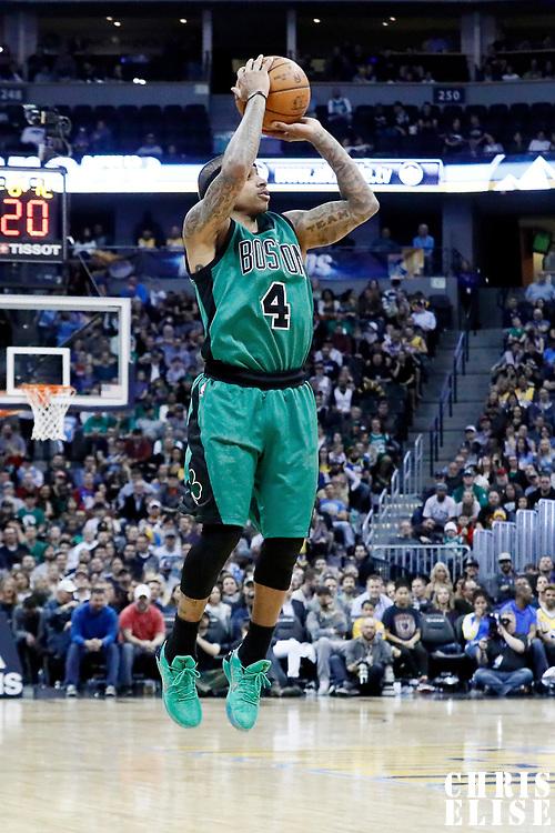 10 March 2017: Boston Celtics guard Isaiah Thomas (4) takes a jump shot during the Denver Nuggets 119-99 victory over the Boston Celtics, at the Pepsi Center, Denver, Colorado, USA.