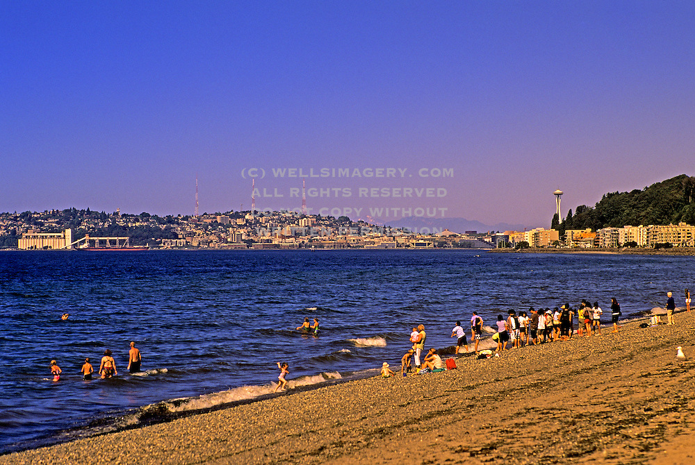 Image of Alki Beach in West Seattle, Washington, Pacific Northwest
