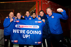Free to use courtesy of Sky Bet - Accrington Stanley manager John Coleman and his coaching staff celebrate winning promotion to Sky Bet League One - Mandatory by-line: Robbie Stephenson/JMP - 17/04/2018 - FOOTBALL - Wham Stadium - Accrington, England - Accrington Stanley v Yeovil Town - Sky Bet League Two