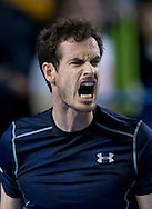 Andy Murray of Great Britain expresses his delight during the Davis Cup match by BNP Paribas between Great Britain and Japan at the National Indoor Arena, Birmingham.<br /> Picture by Russell Hart/Focus Images Ltd 07791 688 420<br /> 06/03/2016
