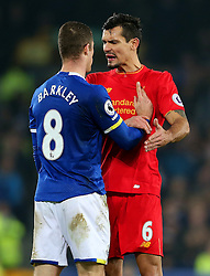 Dejan Lovren of Liverpool reacts angrily towards Ross Barkley of Everton after a tackle on Jordan Henderson - Mandatory by-line: Matt McNulty/JMP - 19/12/2016 - FOOTBALL - Goodison Park - Liverpool, England - Everton v Liverpool - Premier League