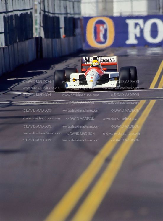PHOENIX -  JUNE 1991:  Ayrton Senna of Brazil and the Mclaren-Honda team driving during  the Formula One United States Grand Prix held in Phoenix, Arizona in June 1991. (Photo by David Madison/Getty Images) *** Local Caption *** Ayrton Senna