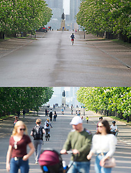 ©Licensed to London News Pictures 28/04/2020  <br /> Greenwich, UK. Comparison images of Greenwich park, Greenwich, London. People stay indoors on coronavirus lockdown today because of the cold wet weather (28/04/2020) and yesterday people out and about (27/04/2020).<br />  Photo credit:Grant Falvey/LNP