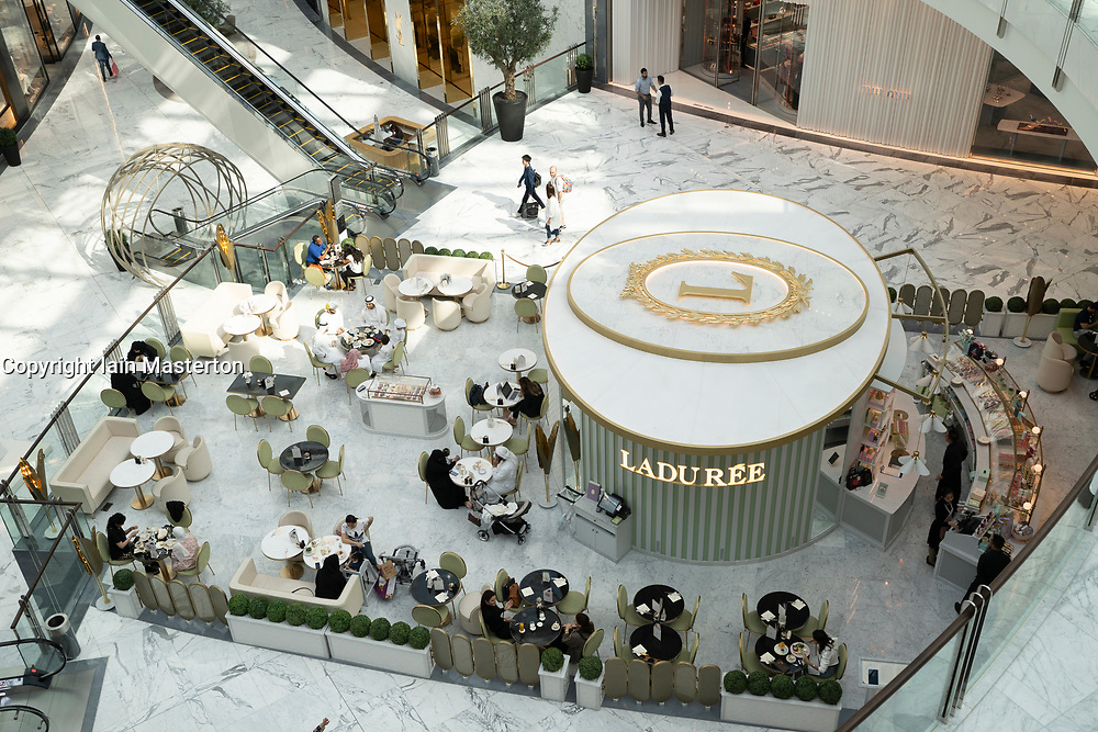 Laduree cafe inside new  luxury section of Dubai Mall Fashion Avenue , Downtown Dubai, United Arab Emirates