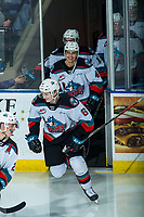 KELOWNA, BC - FEBRUARY 15: Kaedan Korczak #6 and Devin Steffler #4 of the Kelowna Rockets share a laugh as they enter the ice for third period against the Red Deer Rebels at Prospera Place on February 15, 2020 in Kelowna, Canada. (Photo by Marissa Baecker/Shoot the Breeze)