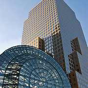 Two World Financial Center and the Winter Garden, both part of the World Financial Center in downtown Manhattan, New York City