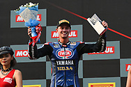 BURIRAM, THAILAND - MARCH 25: Michael van der Mark (#60) of Netherlands and Pata Yamaha Official WorldSBK Team reaction on the podium during Day 3 at the Motul Thai Round Superbike World Championship 2018, Chang International Circuit, Buriram, Thailand on March 25, 2018.<br /> .<br /> .<br /> .<br /> (Photo by: Naratip Golf Srisupab/SEALs Sports Images)<br /> .<br /> Any image use must include a mandatory credit line adjacent to the content which should read: Naratip Golf Srisupab/SEALs Sports Images
