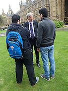 Refugee children and Lord Alf Dubs gather on College Green ahead of <br /> today&rsquo;s vote on amendment to the Immigration Bill (which could see 3,000 unaccompanied refugee children in Europe given sanctuary in the UK).<br /> <br /> The children have been allowed safe passage to the UK to be reunited with family members following action by Citizens UK to enable them to access their legal rights. Under Dublin III regulations, unaccompanied refugee minors in Europe have a legal right to be with their families in the UK whilst their asylum claims are assessed. <br /> <br /> 25th April 2016 <br /> <br /> <br /> Photograph by Elliott Franks <br /> Image licensed to Elliott Franks Photography Services