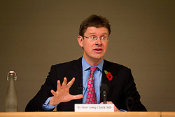 © Licensed to London News Pictures. 29/10/2012. LONDON, UK. The Minister of State for Communities and Local Government, Greg Clark, is reacts to questions during a speech by the Deputy Prime Minister, Nick Clegg, on city deals and devolution at a conference held at the Royal Society in London today (29/10/12). Photo credit: Matt Cetti-Roberts/LNP
