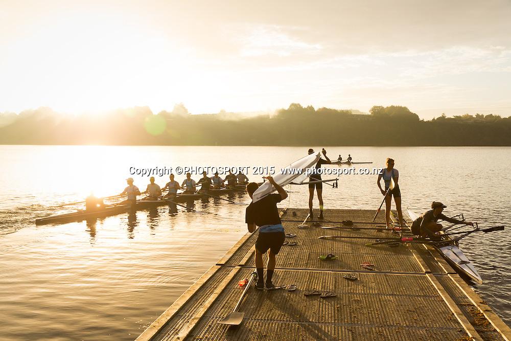 General view, sunrise, at the Rowing NZ Media Day, Lake Karapiro, Cambridge, New Zealand, Wednesday 6 May 2015. Photo: Stephen Barker/Photosport.co.nz