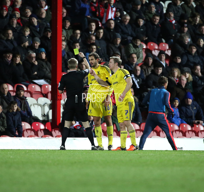 Middlesbrough striker Christian Stuani yellow card during the Sky Bet Championship match between Brentford and Middlesbrough at Griffin Park, London, England on 12 January 2016. Photo by Matthew Redman.