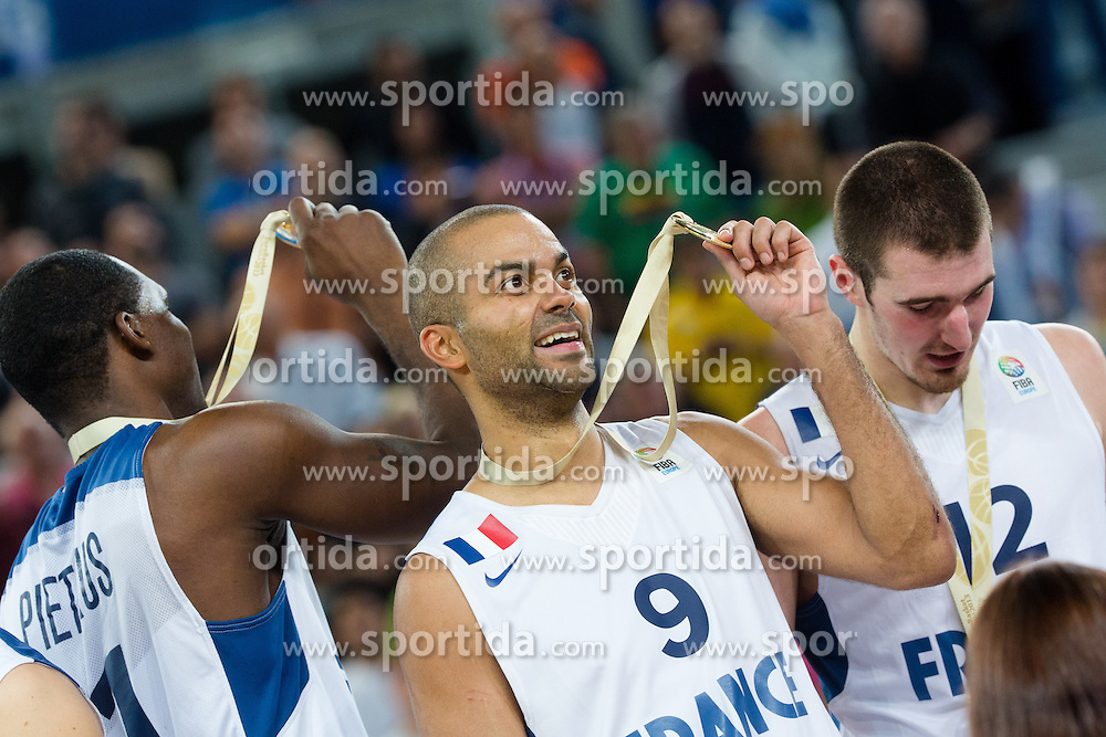 Tony Parker #9 of France after basketball match between national team of France and Lithuania in Gold Medal Game at Day 19 of Eurobasket 2013 on September 22, 2013 in SRC Stozice, Ljubljana, Slovenia. France won 80:66 against Lithuania and become European Champions. (Photo By Matic Klansek Velej / Sportida.com)