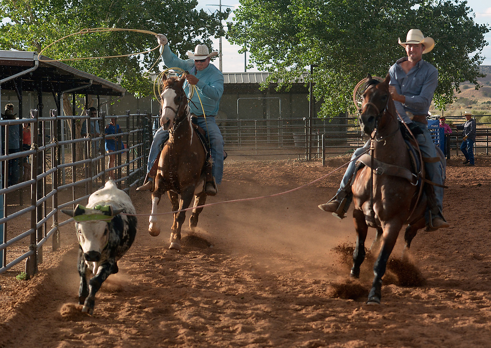 gbs072017k/RIO-WEST  -- Milton Carrasco, left, of Corrales, and Andrew Burke of Harrodsburg, Kentucky lasso a calf during the team roping event at the Summer Series Rodeo at the Stables at Tamaya on Thursday, July 20, 2017.(Greg Sorber/Albuquerque Journal)