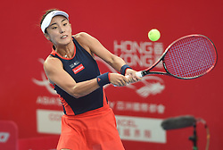 HONG KONG, Oct. 13, 2018  Wang Qiang of China hits a return during the women's  singles semifinal match against Garbine Muguruza of Spain at 2018 WTA Hong Kong Tennis Open in Hong Kong, south China, Oct. 13, 2018. Wang Qiang won 2-1. (Credit Image: © Lo Ping Fai/Xinhua via ZUMA Wire)