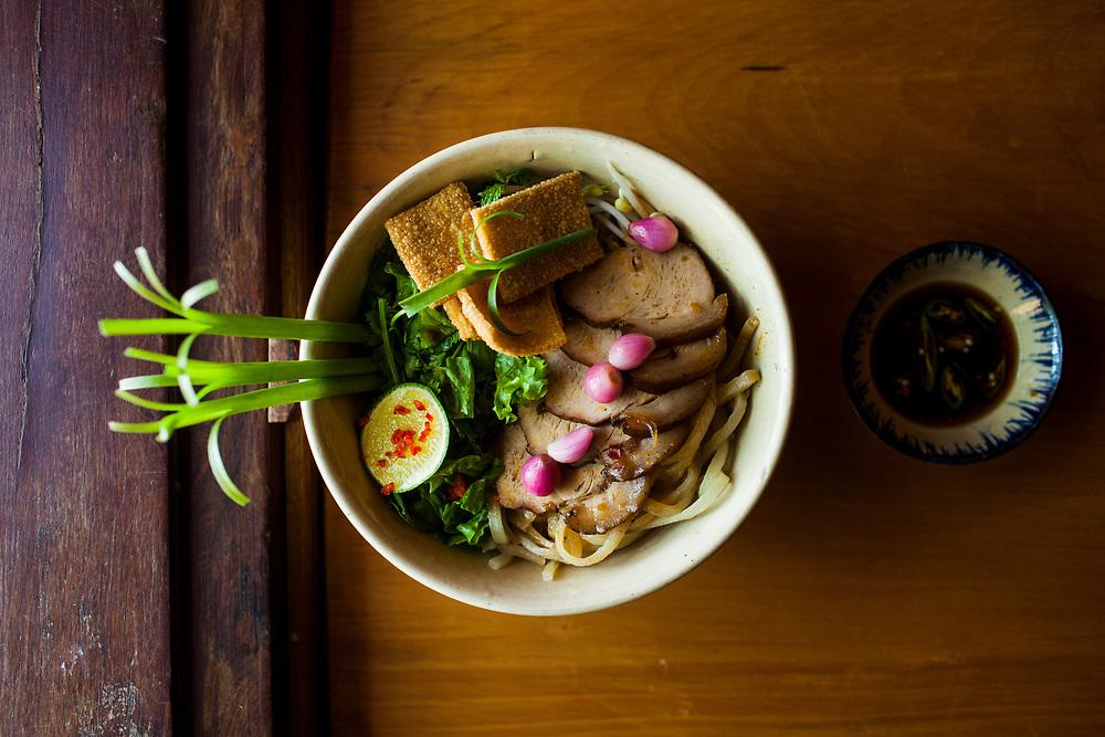 Cao lau noodles, a specialty dish of Hoi An, with noodles made from local well water, at Mai Fish in Hoi An, Vietnam.