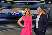 Danielle Trotta and Adam Alexander on the 2016 set of Race Hub.