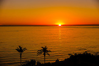 Sunset over the Pacific Ocean seen from the Mesa, Santa Barbara, California USA.