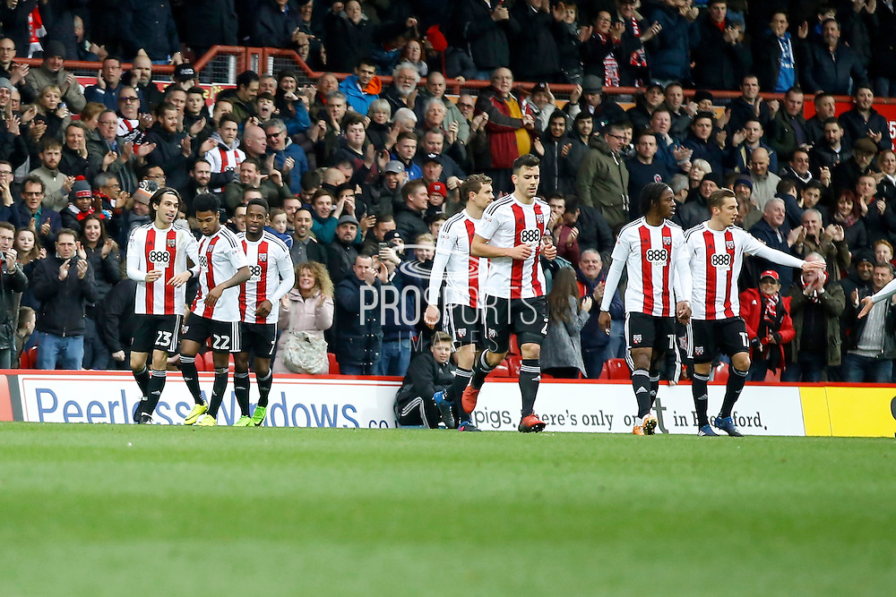 Brentford players celebrate a goal from Brentford midfielder Jota (23) (score 1-0) during the EFL Sky Bet Championship match between Brentford and Rotherham United at Griffin Park, London, England on 25 February 2017. Photo by Andy Walter.