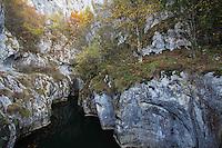 Geological formations in the gorge Cheile Corcoaia, a tourist destination outside the village of Cerna Sad. Domogled Valea Vernei National Park, Cerna Sad, Caras Severin, Romania.