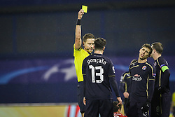 Goncalo Santos #13 of GNK Dinamo Zagreb receive yellow card during football match between GNK Dinamo Zagreb and Bayern München in Group F of Group Stage of UEFA Champions League 2015/16, on December 9, 2015 in Stadium Maksimir, Zagreb, Croatia. Photo by Ziga Zupan / Sportida