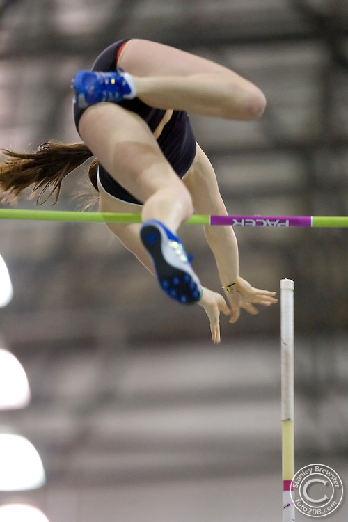 "2-24-06.Nampa, ID. Melinda Owen of the University of Idaho won the WAC title in the Womens Pole Vault Frifay night with a mark of 13' 3.75""."