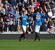 9th September 2017, Ibrox Park, Glasgow, Scotland; Scottish Premier League football, Rangers versus Dundee; Rangers' Josh Windass (left) is congratulated after scoring for 2-0 by Bruno Alves